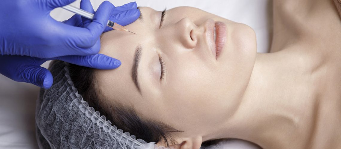 beauty injection botox face forehead needle